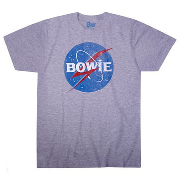 David Bowie - In Space-NASA style logo - Heather Grey Poly Cotton t-shirt