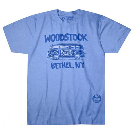Woodstock - Bethel Bus - Blue Poly Blend t-shirt