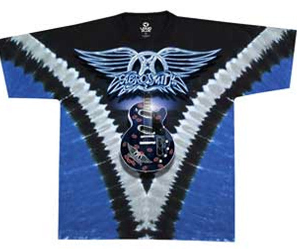 Aerosmith Guitar and Logo Blue V Tye Dye t-shirt