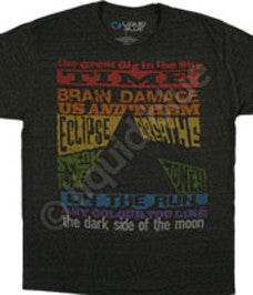 Pink Floyd Dark Side Tracks-Dark Heather Poly Cotton t-shirt