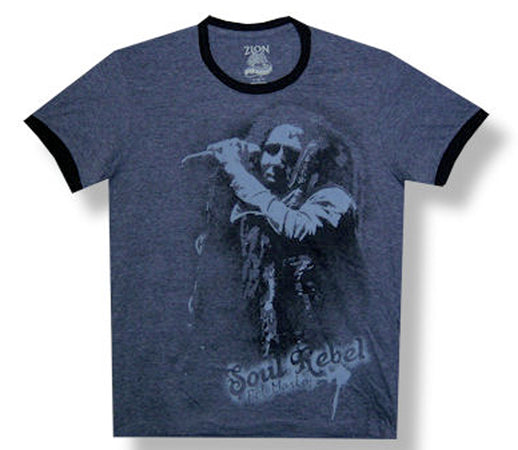 Bob Marley - Soul Rebel - Charcoal Lightweight Ringer T-Shirt