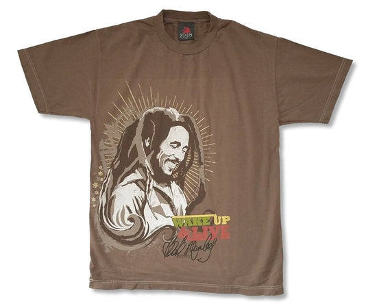 Bob Marley-Wake Up-Brown Garment Dye T-shirt