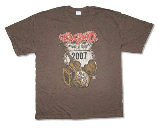 Aerosmith - RARE -Distressed Guitar-World Tour 2007  - Brown T-shirt