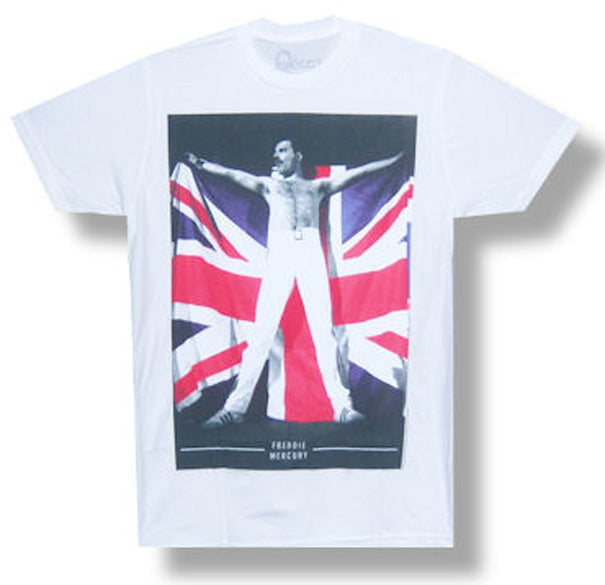 Queen-Freddie Flag Photo-White t-shirt