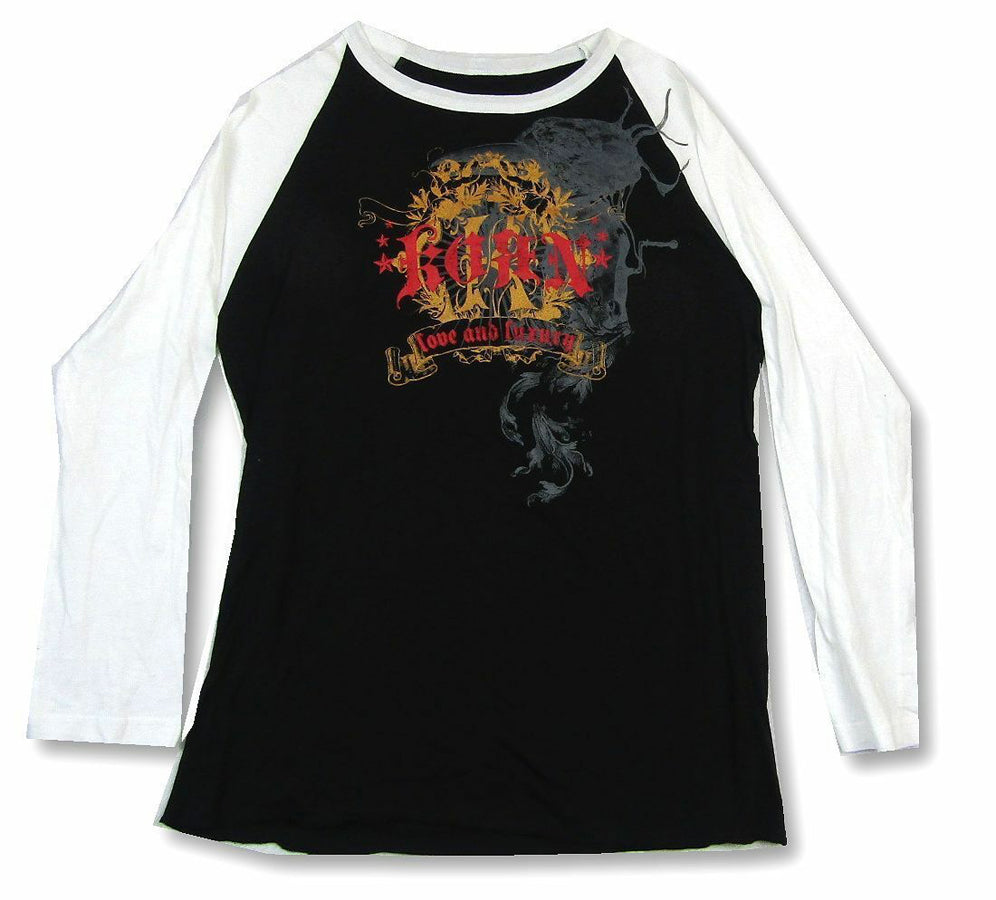 Korn - Love and Luxury Ornate Logo - Raglan Baseball Jersey T-shirt