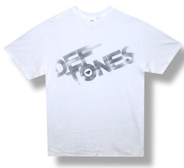 Deftones-Striped Logo-White t-shirt