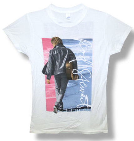 Rod Stewart-Leather Jacket pic-Girl's  Junior White t-shirt