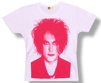The Cure-Robert Smith- Face-Girl's Junior Pink T-shirt