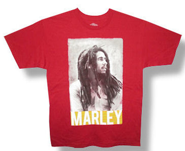 Bob Marley Striped Name Profile Red T-Shirt