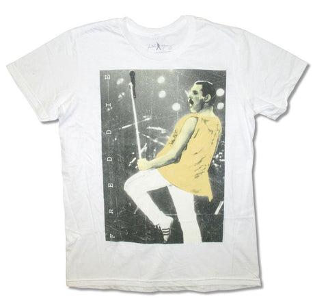 Queen-Freddie Live Pose-White t-shirt