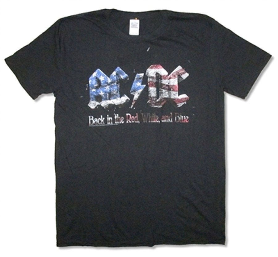 AC/DC Back In Red White and Blue- Black t-shirt