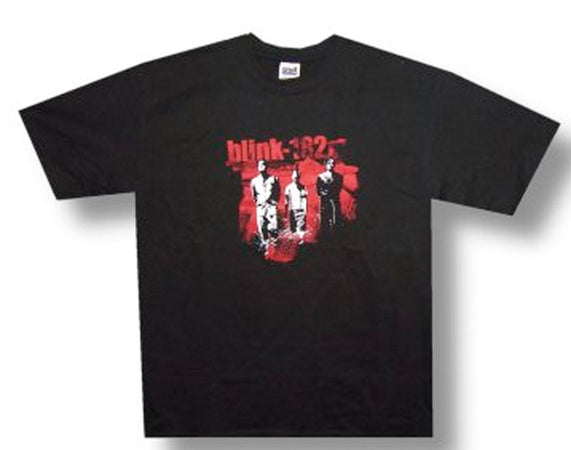 Blink 182 Red and White Group Black t-shirt