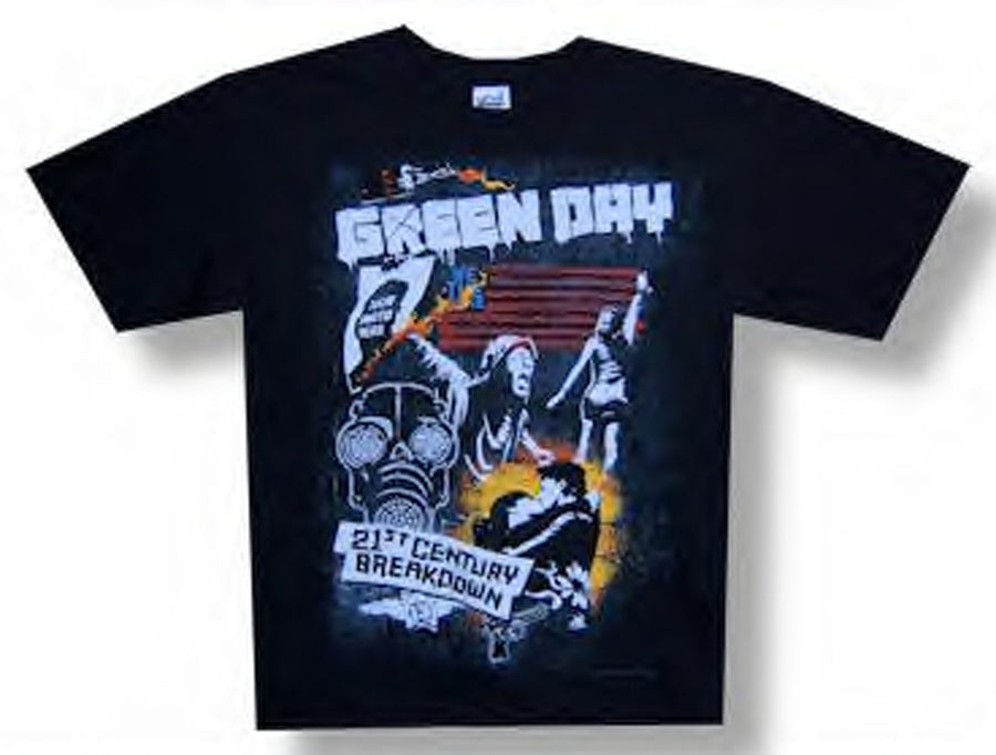 Green Day - 21st Century Breakdown-Collage 09 Tour - Black t-shirt