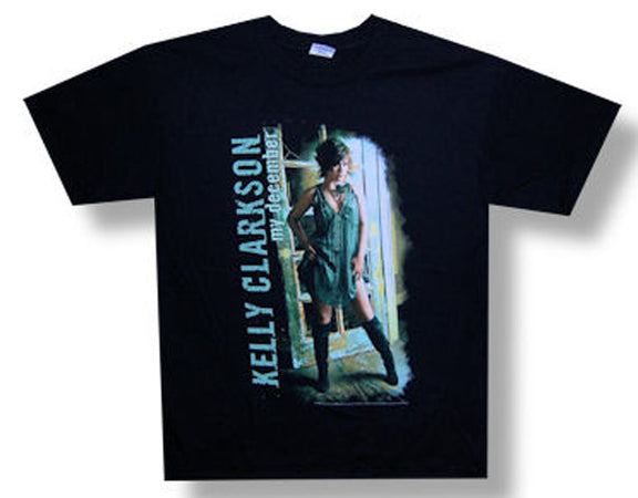 Kelly Clarkson Green Dress  My December Tour Black t-shirt