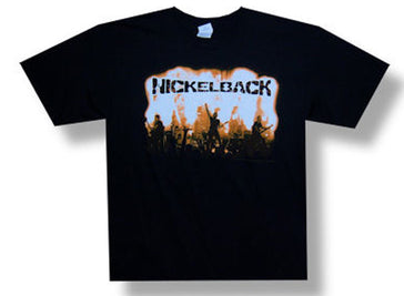 Nickelback Flame Group Photo 2009 Tour Black T-shirt