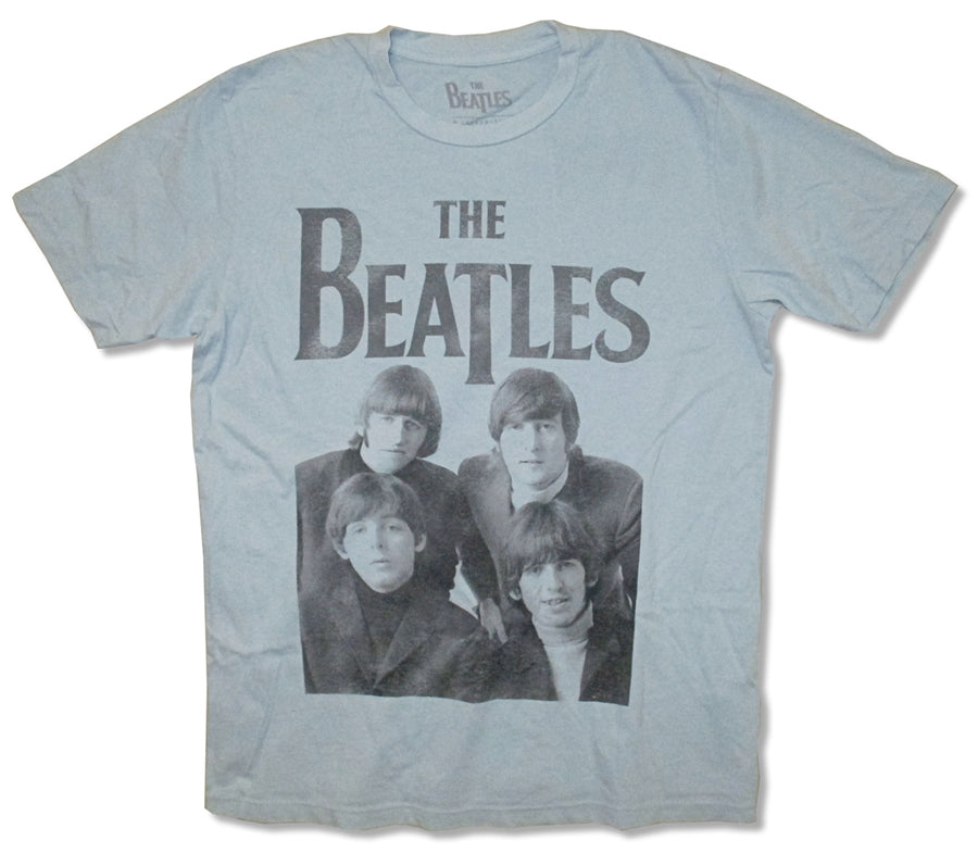 The Beatles-Faded Band Photo-Light Slate Blue t-shirt
