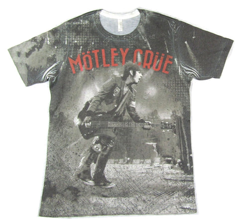 Motley Crue - Nikki Sixx-Sublimation All Over Print-All Bad Things -  White T-shirt