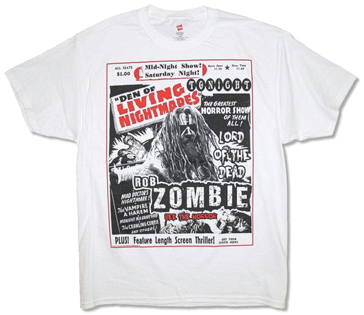 Rob Zombie - Den Of Living Nightmares - White T-shirt
