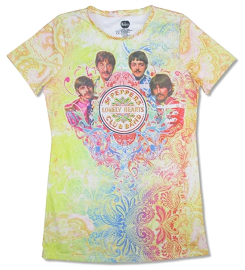 The Beatles - Sgt Pepper-Green Paisley All Over Print-Girl's Junior t-shirt