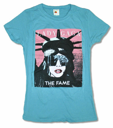 Lady Gaga  - The Fame-Liberty - Girls Junior Aqua Blue T-shirt