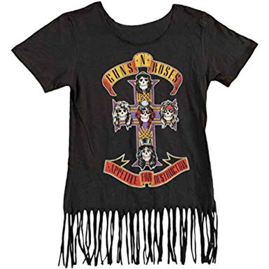Guns N Roses -  Cross Skulls - Girl's Junior Fringe Black Shirt