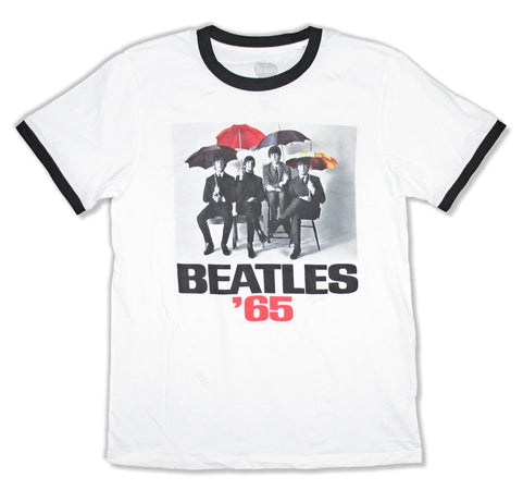 The Beatles- Color Umbrellas 1965 - White Ringer t-shirt