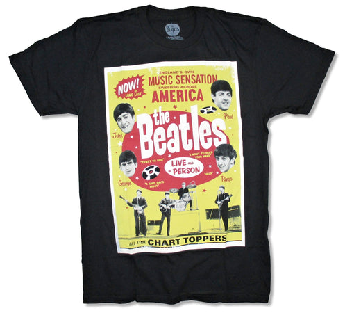 The Beatles- Chart Toppers - Black t-shirt
