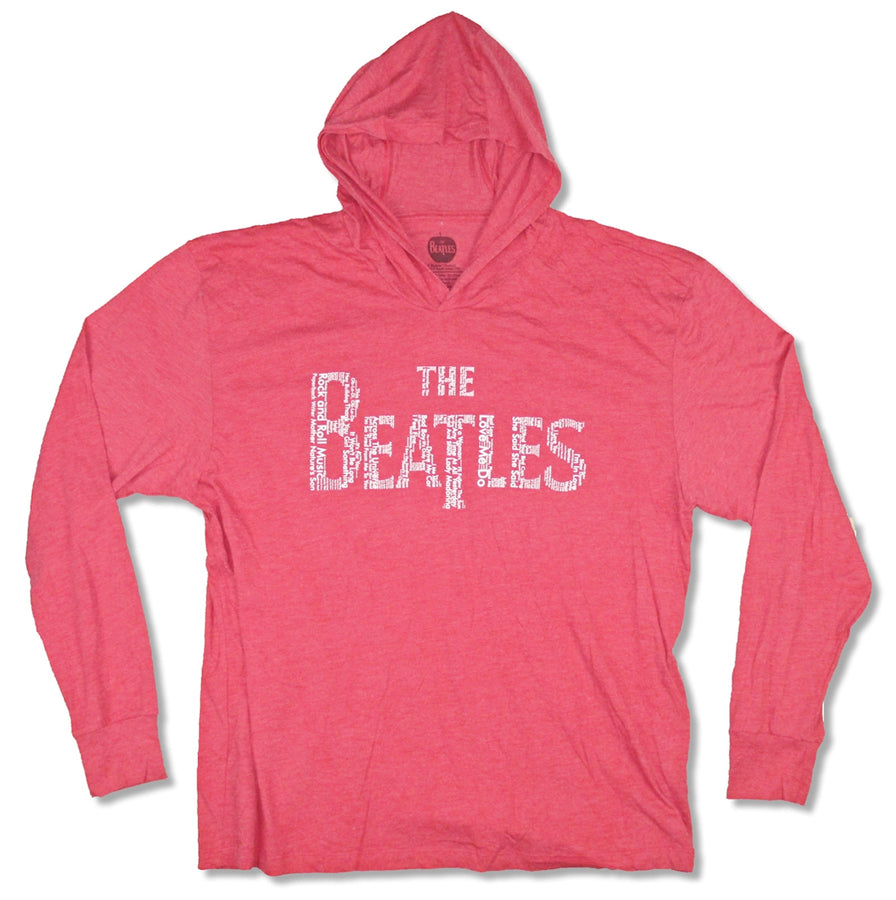 The Beatles- Song Titles Logo - Red Non-fleece Hooded Sweatshirt