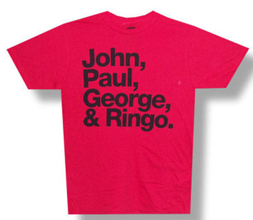 The Beatles John Paul George Ringo-Red Lightweight  t-shirt