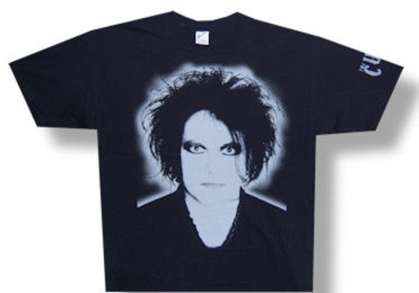The Cure-Robert Smith-Face and sleeve print on black t-shirt