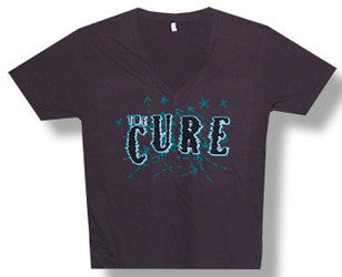 The Cure-Shocking Logo v-neck brown t-shirt