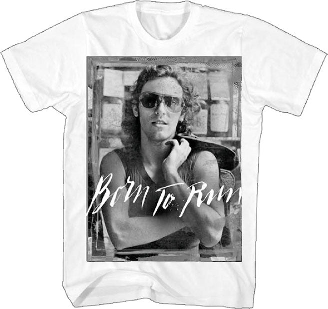 Bruce Springsteen - Black and White-Born To Run - White  t-shirt