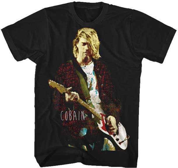Nirvana-Kurt Cobain-Red Jacket-Guitar pic-Black t-shirt