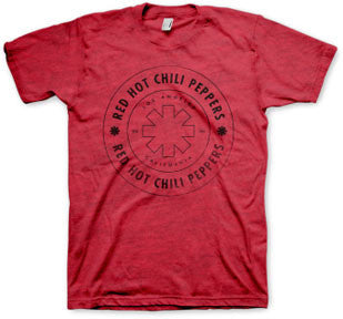 Red Hot Chili Peppers Wheel Outline Red t-shirt