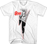 David Bowie Red Logo Lightning Pic White Soft Cotton t-shirt