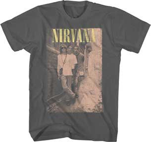 Nirvana Kurt Cobain Group Brick Wall Alley Pic Charcoal t-shirt