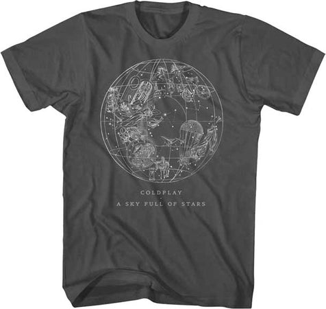 Coldplay Sky Full Of Stars Coal Soft Cotton t-shirt