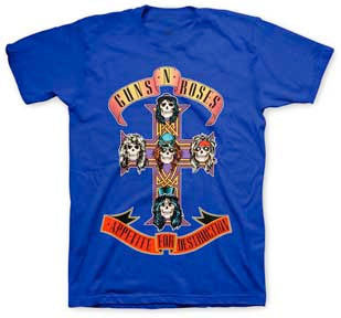 Guns N Roses Cross Royal Blue t-shirt