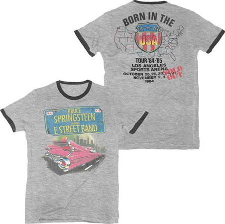 Bruce Springsteen-Born In The USA 84-85 Tour-Pink Cadillac-Retro Ringer Lightweight  t-shirt