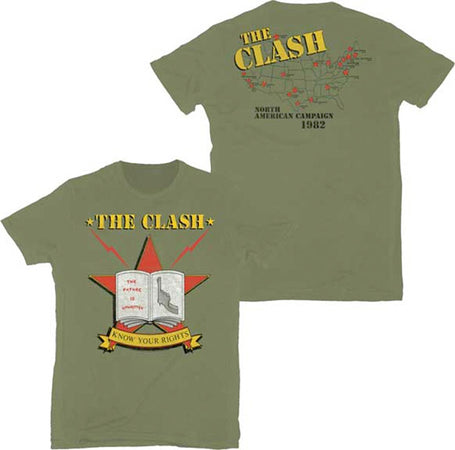 The Clash-Know Your Rights-Lightweight Olive  t-shirt