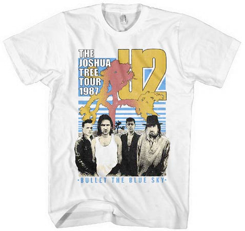U2 - Bullet The Blue Sky - White Soft Cotton t-shirt