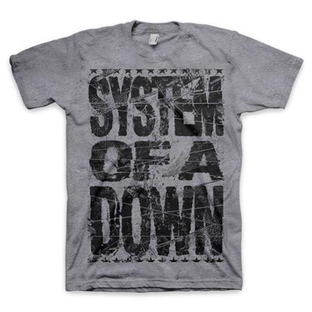 System of a Down - Shattered Logo-Heather Grey t-shirt