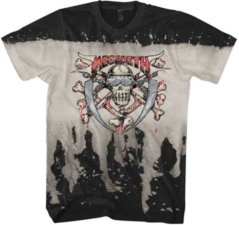 Megadeth-Skull and Crossbones-Bleach Waterfall Treated t-shirt