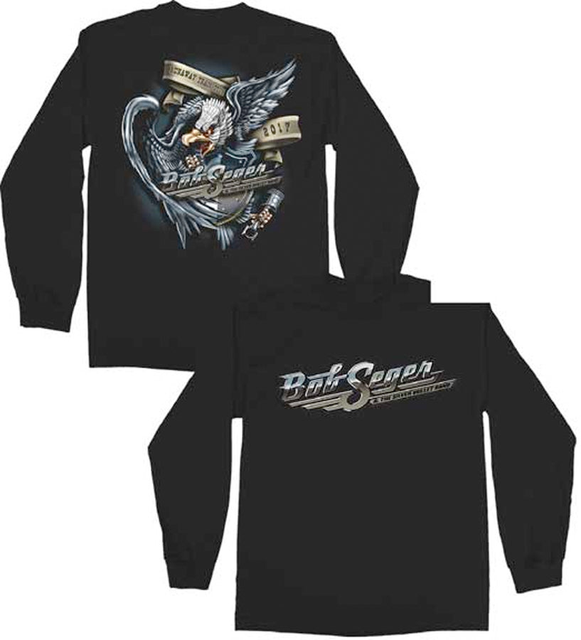 Bob Seger-Runaway Train Eagle-Longsleeve Black t-shirt