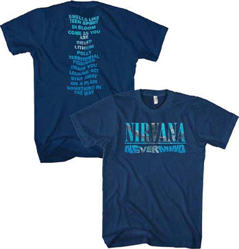 Nirvana Kurt Cobain NeverMind Album-Play List Back Print-Navy Blue t-shirt