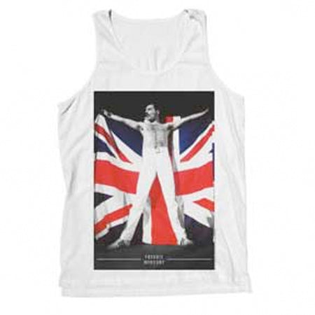 Queen - Freddie Mercury-Flag - White Tanktop t-shirt