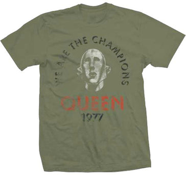 Queen - 1977- We Are The Champions - Army Green t-shirt