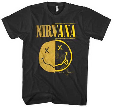 Nirvana -  Kurt Cobain - Split Smile - Black t-shirt