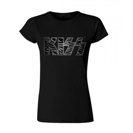 Kiss - Foil Logo - Girl's Junior Black  t-shirt
