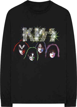 Kiss - Embellished-Faces - Longsleeve Black  t-shirt
